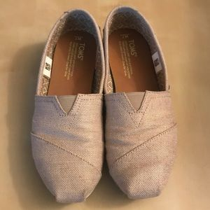 Khaki and gold Toms slip ons